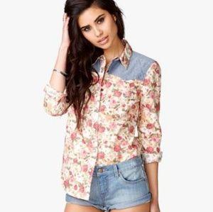Forever 21 Chambray Rose Shirt